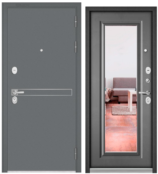 Дверь входная Бульдорс Standart 90 черный шелк, зеркало - купить в Орехово-Зуево