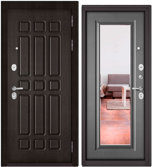 Дверь входная Бульдорс Бульдорс Standart 90 9S-111 Дуб шоколад Зеркало - купить в Орехово-Зуево