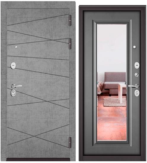 Дверь входная Бульдорс Бульдорс Standart 90. 9S-130 штукатурка серая Зеркало - купить в Орехово-Зуево