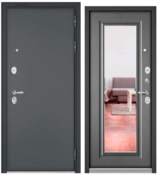 Дверь входная Бульдорс Бульдорс Standart 90 черный шелк Зеркало  - купить в Орехово-Зуево